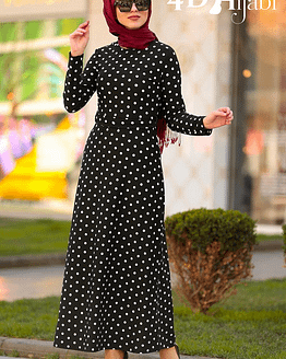 Black Dress With Small Polka Dot Pattern