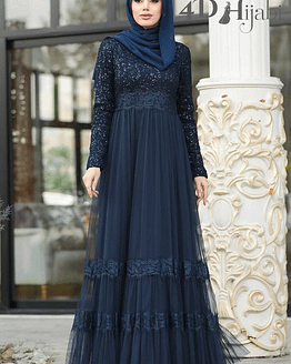 Turkish Tulle Sequinned Navy Blue Evening Dress
