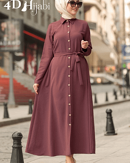 Dusty Rose Front-Buttoned Dress