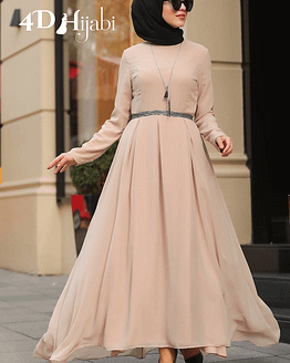Turkish Beige Chiffon Dress