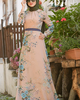 Turkish Flowery Beige Dress