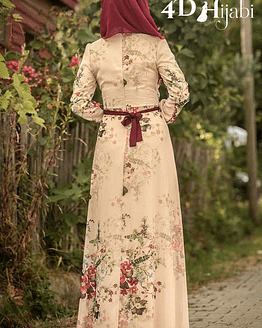 Turkish Floral Patterned Ecru Dress