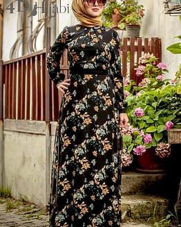 Turkish Floral Pattern Black Dress