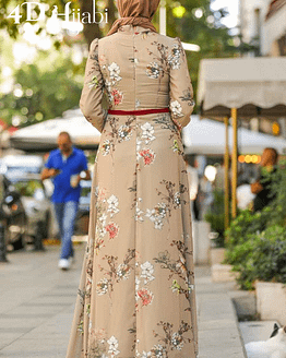 Turkish Floral Patterned Beige Dress
