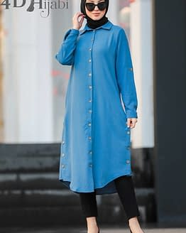 Turkish Front-Button Indigo Blue Tunic