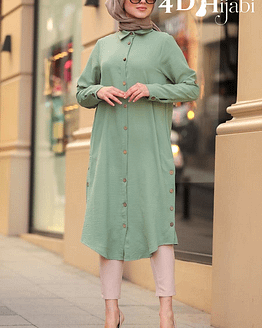 Turkish Front-Button Dark Mint Tunic