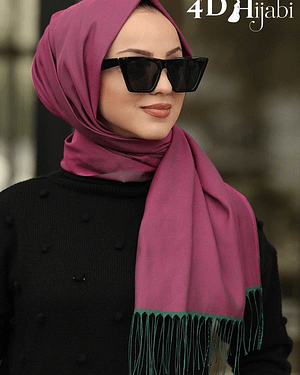 Double Coloured Burgundy Turkish Hijab