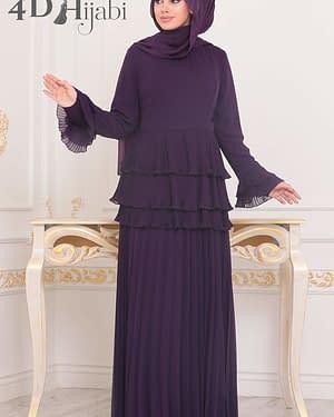 Simple Turkish Purple Evening Dress