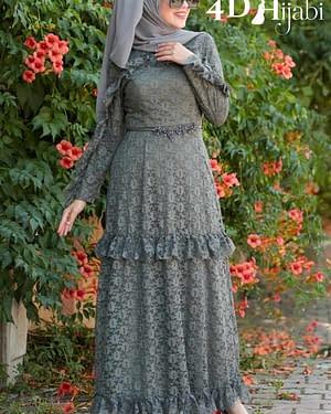 Laced Khaki Turkish Dress