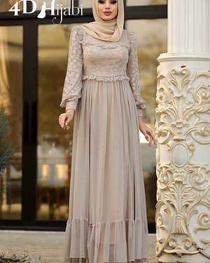 Turkish Beige Tulle Evening Dress