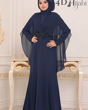 Lace Detailed Navy Blue Turkish Evening Dress