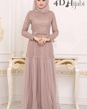 Turkish Lace Embroidered Beige Evening Dress