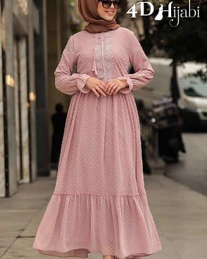 Powder Pink Turkish Chiffon Dress