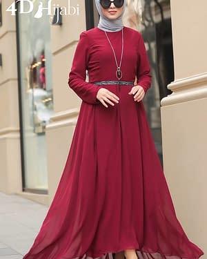 Turkish Burgundy Chiffon Dress
