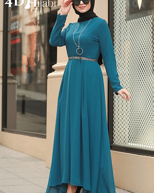 Turkish Indigo Blue Chiffon Dress