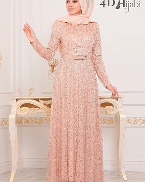 Turkish Salmon Pink Shiny Evening Dress