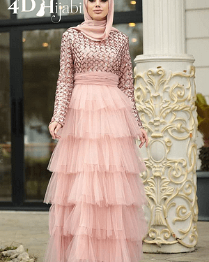 Ruffle Salmon Pink Turkish Evening Dress