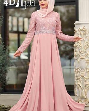 Laced Powder Pink Turkish Evening Dress
