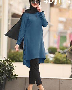 Black-Buttoned Turkish Indigo Blue Shirt