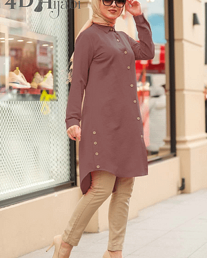 Dusty Rose Turkish Front-Buttoned Shirt