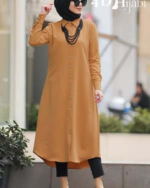 Front-Buttoned Mustard Tunic